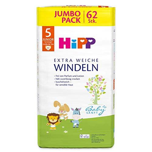 HiPP Babysanft Windeln für Kleinkinder, Geeignet von 11-17 kg, Gr. 5 (86-104), 5 Jumbopack, 62 Stück