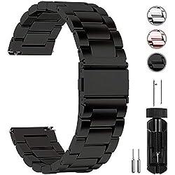 Fullmosa 14mm/16mm/18mm/19mm/20mm/22mm/24mm Bracelets de Montre en Acier Inoxydable, Band/Bracelet Remplacement Dégagement Rapide pour Homme/Femme, 20mm Noir