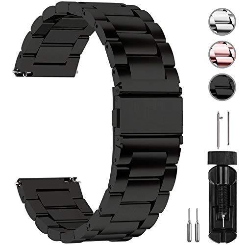 Fullmosa Uhrenarmband Edelstahl,Metall Armbänder mit Schnellverschluss geeignet für Damen&Herren, 20mm Schwarz (19mm Uhrenarmband Lange)