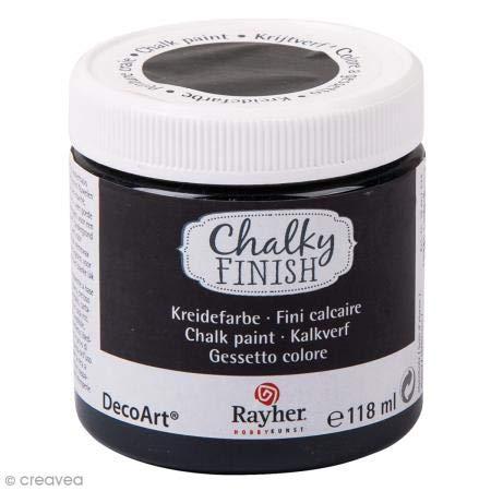 Rayher 38867574 Chalky Finish auf Wasser-Basis, Kreide-Farbe für Shabby-Chic-, Vintage- und Landhaus-Stil-Looks, 118 ml, Ebenholz -