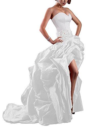 Mingxuerong Luxus Taft Hoch Niedriger Abendkleider Herzförmiger Prom Brautkleider Spitze Ballkleid Weiß36 (Brautkleid Taft Meerjungfrau)