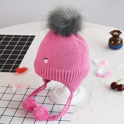 ChildHat 2018 Hut für Kinder,Baby Strickmütze Saison Baby Haar Ball Ohrenschützer Kinder Obst Wollmütze Baby warm, Pfirsich stieg rot, eine ()