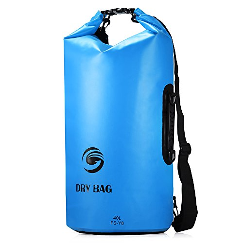 Sacca Impermeabili Borsa Waterproof 40L, GrandBeing® Borse Impermeabili Dry Bag con Tracolla Regolabile, Una Spalla o Alle Spalle, per Attività all'Aperto e Sport d'Acqua (Blu) - Sport e all'aperto