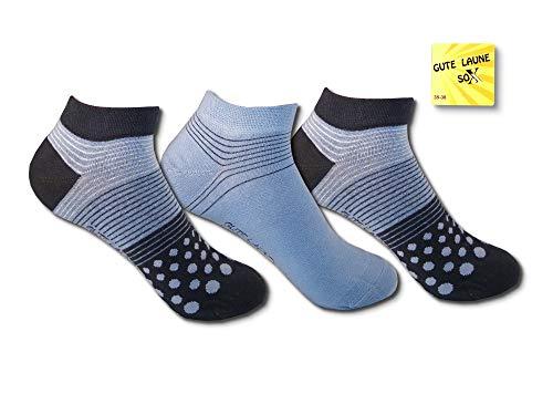 Gute Frauen Für Gute Laune (Unbekannt 6 Paar bunte Damen Sneaker Socken Füßlinge Gute Laune farbenfroh viel Baumwolle (Navy, 35/38))