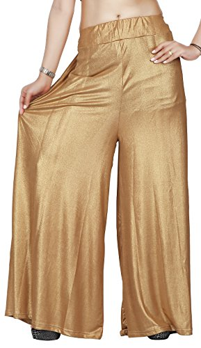 Comix Cotton Lycra Fabric Women Palazzo(2155-PZ-GOLD-FREE)