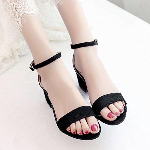 RUGAI-UE Spesso Sandali con tacco Scarpe estive tacchi alti Black