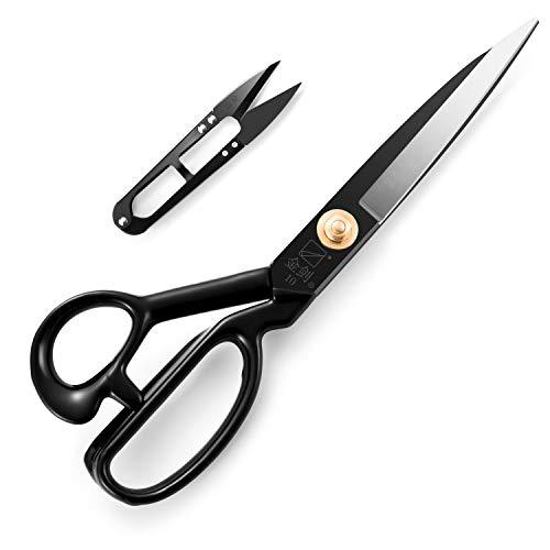 Forbici da sartoria - Sartoria Cesoia per tessuti da 10 pollici con impugnatura Soft-Grip per tagliare tessuti, pelle, materiale, vestiti, alterazioni, cucito e sartoria (nero)