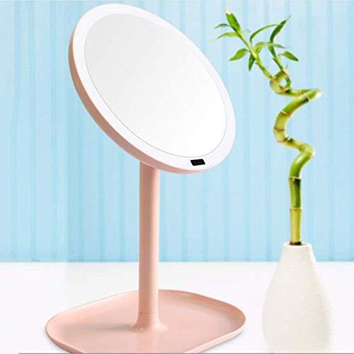 Desktop Vanity Mirror mit Licht 360o Rotating Storage Base Kosmetikspiegel USB-Aufladung für die Reise Rasur Beauty Pink White -