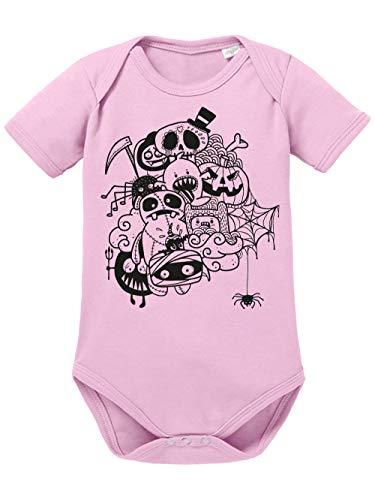 clothinx Baby Body Bio Halloween Doodle Hellrosa/Schwarz Größe 50-56