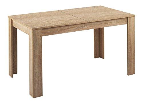 Cavadore Tisch Nick / Moderner Esstisch mit ausziehbarer Tischplatte / Melamin Eiche sägerau / Resistent gegen Schmutz / 140-180 x 80 x 75 cm (L x B x H)