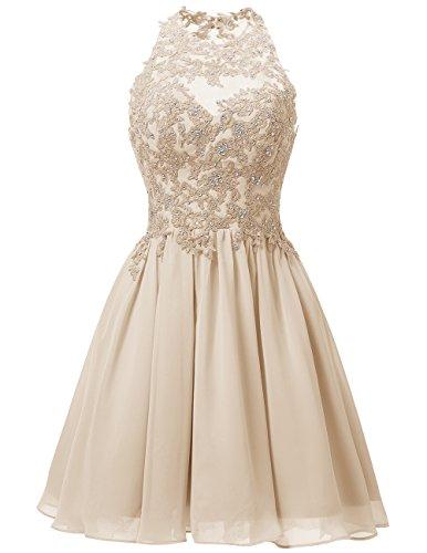 Dresstells Damen Kurz Gipüre Neckholder Ballkleid Homecoming Kleider Champagner Größe 36