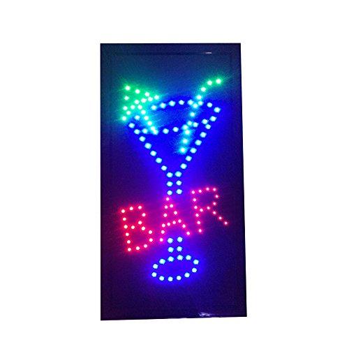RongZhan Cartel de Bar Pub con Luces de neón LED Animado para Clientes Atractivo con Cadena para Colgar Vertical 220 V
