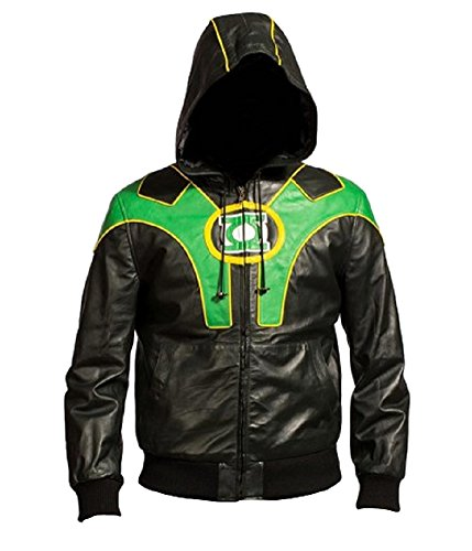 classyak Herren Fashion Green Lantern Reynolds Fashion Leder Jacke mit Hoodie Gr. Medium, Faux Black (Green Lantern-jacke)