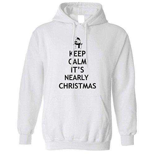 Weihnachten Kapuzenpullover Halten Sie ruhig es ist fast Weihnachten Neuheit Gedruckt Slogan (Mud Pie Weiß)