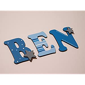 Holzbuchstaben für die Kinderzimmertür. Tolle Kinderzimmerdekoration. Handbemaltes Unikat. Als Wunschname individualisierbar