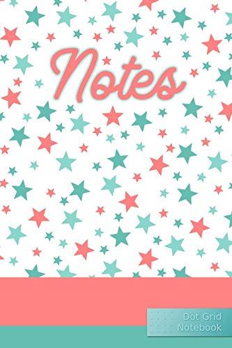 Notes Dot Grid Notebook: Peach Mint Stars - Punktraster Notizbuch Sterne A5 120 Seiten (Türkis Leer)