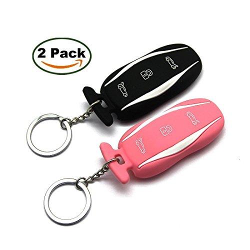 Topfit llavero de coches de silicona, titular de la cubierta caso clave para Tesla modelo S, negro rosa, 2 de paquete