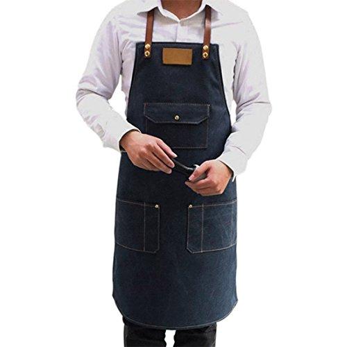 Pinji Delantal de Cocina con Bolsillos para Mujeres Hombres Chef 78 x 60 cm
