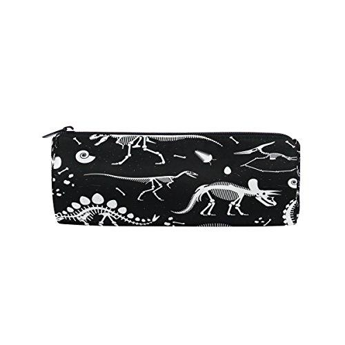 ahomy Leinwand Bleistift Fällen Weiß Dinosaurier Skelett Reißverschluss Bleistift Tasche Tasche für Mädchen und Jungen, Reisen Make-up Tasche für Frauen (Leinwand Bleistift Weiße Fall)