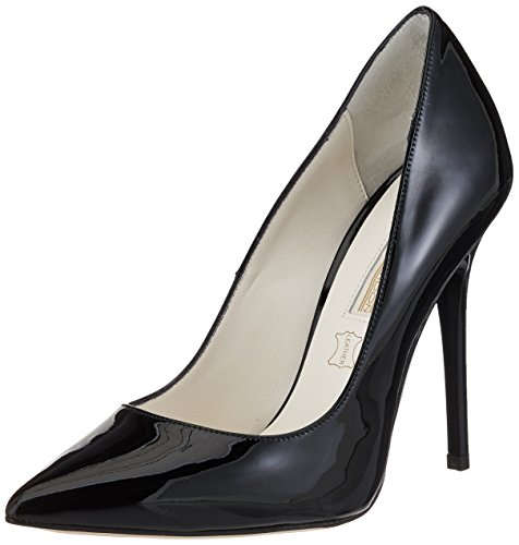 Leder-patent Leder Heels (Buffalo London Damen 11335X-269 L Patent Leather Pumps, Schwarz (Black 01), 38 EU)
