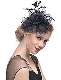 Donne Fascinator Clip del Cappello di Matrimonio con Veli Perline Piuma  Decorazione dei Capelli Accessori per 5664aa1b38e8