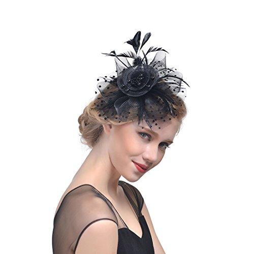 Haarschmuck mit Schleier für Kostüm Karneval Elegant Fascinator Hut Braut Hair Clip Accessoires Cocktail Royal Ascot für Damen (Schwarz)