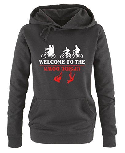 Comedy Shirts - Welcome to the upside down - Stranger Things - Damen Hoodie - Schwarz / Weiss-Rot Gr. XL