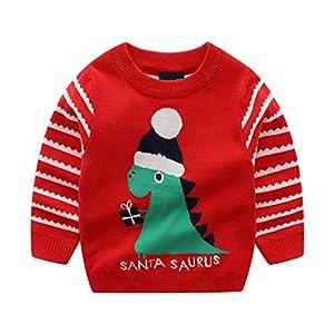Yying Weihnachtspullover Kinder Strickpullover Jungen Mädchen Weihnachtsmann Elk Schneemann Drucken Strickwaren Rundhals…
