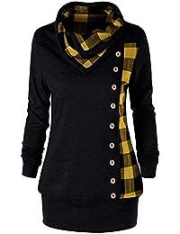 Hanomes Damen 2-in-1 Kariert Casual Tops Mode Pullover Baggy Rundhalsausschnitt Sweatshirt Bluse Langarm Shirt
