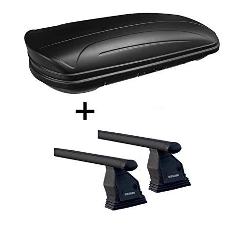 Dachbox VDPMAA320 320Ltr abschließbar schwarz matt + Dachträger Menabo TEMA kompatibel mit Mazda Cx-5 (5 Türer) 2015-2017