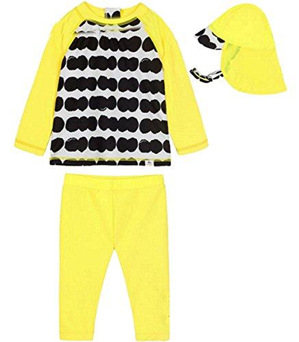 FAIRYRAIN Baby Kinder Mädchen 2 Stück Lange Ärmel Badeanzug Flamingo Ganzkörper Rash Guard UV Sonnenschutz Badeanzüge Schwimmanzug Mit Uv Sun Hut 2-3 Jahre - 2 Stück Rash Guard