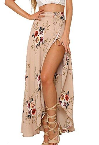 Walant Damen Lang Blumen Röcke Schnürung Elegant Boho Chiffon unregelmäßigen vorne offen Slits Hoher Röcke Maxi Strand Röcke- M, Rosa