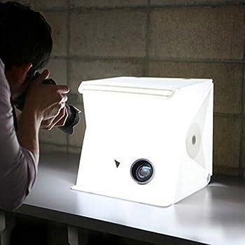 Photo Tente Set de studio photo avec lampe LED 24 x 22 x 24 cm Cube De Lumière Tente de lumière Boîte photos avec 2 arrière-plan (Blanc, Noir)