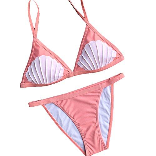 Damen Bikini-Set Schalen Push up Bademode Badeanzüge Rosa