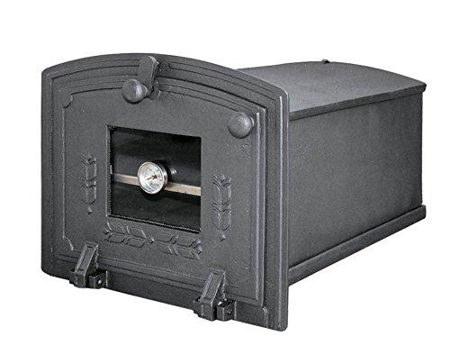 Backröhre Backkasten Backofen Ofen Pizzaofen Brotbackofen Holzofen Steinofen aus Gusseisen mit abnehmbares Fach, Thermometer und Ofenscheibe | Außenmaße: 310x245 mm | Öffnungsrichtung: nach unten