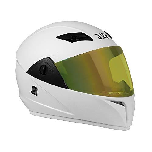 JMD HELMETS Trusty Full Face ABS Helmet with Mirror Visor (Large, White)