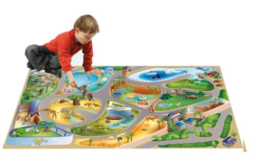 House Of Kids 11227-E3 - Playmat Quadri Zoo Connect, 100 x 150 cm
