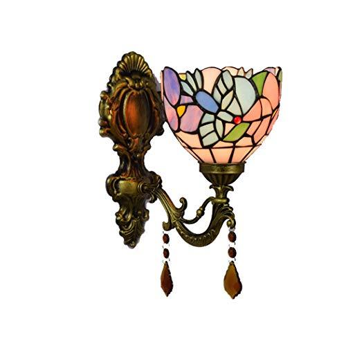 Tiffany Style Wandleuchte Lichter 6 Zoll Kolibri Blume Wandleuchten Kristallglas Lampenschirm Studie Schlafzimmer Ganglichter, E27, 110-220V