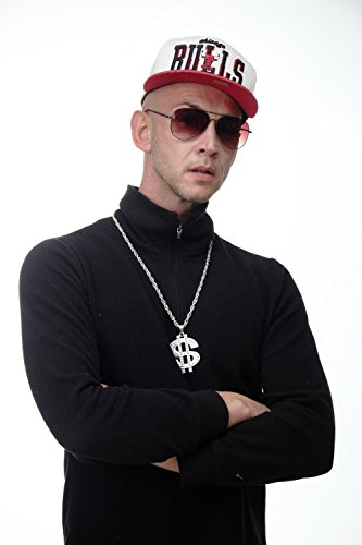 DRESS ME UP - CH-002-Silver Dollar Zeichen Halloween Karneval Kette Anhänger Bling Old School Hip Hop OG Gangster (Kostüm Gangsta Halloween)