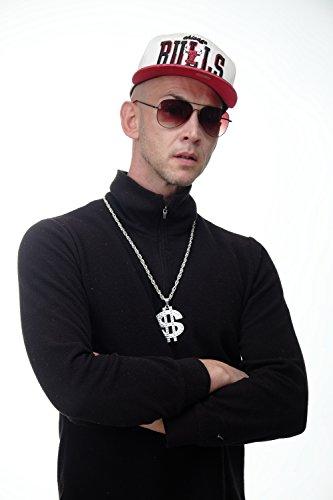 -Silver Dollar Zeichen Halloween Karneval Kette Anhänger Bling Old School Hip Hop OG Gangster silberfarben (Geile Halloween)