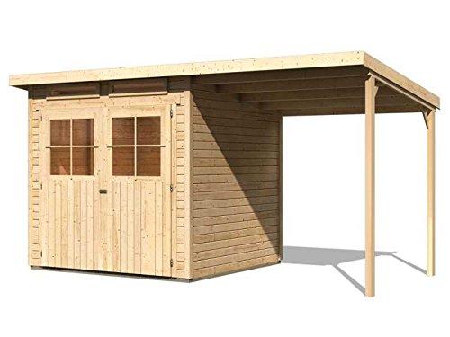 Karibu Gartenhaus Verona 3 inkl. Schleppdach natur SPARSET mit selbstklebender Dachbahn