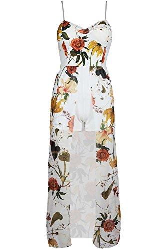 Fashion Star Damen Jumpsuit *, gelb (Plus Size Floral Romper)