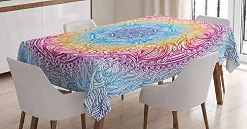 Abakuhaus etnico tovaglia, magico, fantasia rotonda, antimacchia stampata con la tecnologia all'avanguardia lavabile, 140 x 170 cm, multicolore