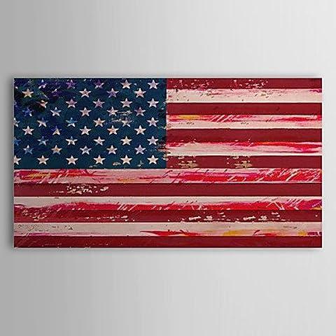 F.Latoo Dipinto a mano pittura a olio astratta bandiera degli Stati Uniti, con telaio allungato pronta per essere