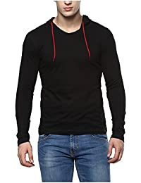 Urbano Fashion Men's 100% Cotton Full Sleeve Hooded T-Shirt