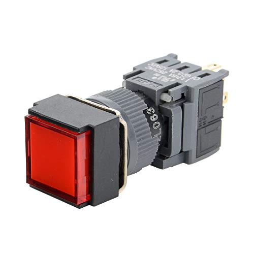 ZCHXD Latching Push Button Switch Square Head 16mm Mounting Dia SPDT 1NO 1NC with 24V Red LED Light