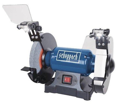 Scheppach 5903109901 Doppelschleifer SM200L, vielseitiges Schleifgerät mit Schlicht und Schruppscheibe, LED-Arbeitsleuchten, verstellbarer Funkenschutz, 0,5 PS Motor, 500 W, W, 230 V - 0,5 Ps-motor