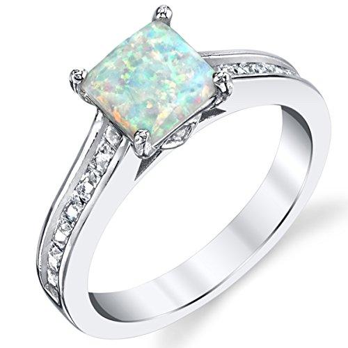 Damen Sterling Silber Ring Hochzeitsband Verlobungsringe Trauringe mit Weiß opal und zirkonia Größe 50