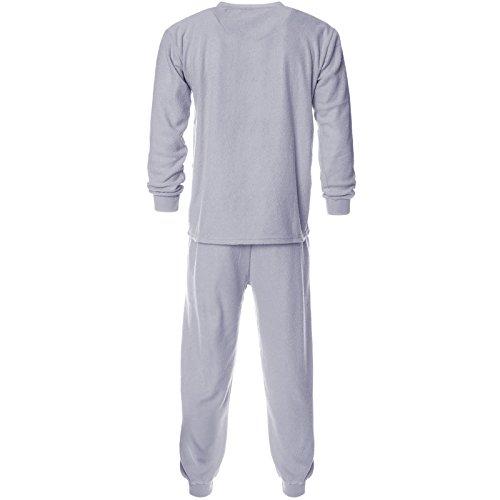 Herren 2 teilig Schlafanzug Pyjama Hemd Hose Hausanzug Langarm 21659 Grau