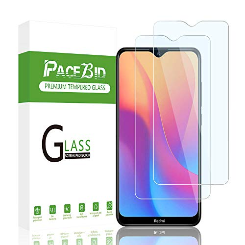Vidro temperado PaceBid 2 Pack compatível com Xiaomi Redmi 8A [Anti-arranhões] [Dureza 9H] [Anti-impressão digital] Película protetora para Xiaomi Redmi 8A